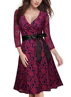 MIUSOL Women's Vintage Floral Lace Deep V-Neck Bow Cocktail Swing Dress (DARK RED,M)