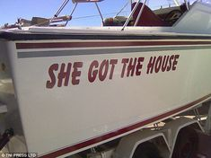 68 Clever And Funny Boat Names That Made The Whole Harbor Laugh Out Loud Clever Boat Names, Funny Boat Names, Name Pictures, Best Funny Pictures, Funny Photos, Pontoon Boats For Sale, Boat Decals, Boat Humor, Le Divorce