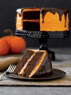 Halloween Chocolate Pumpkin Cake Recipe   Online Pin Board by Asher Socrates. #cake #halloween