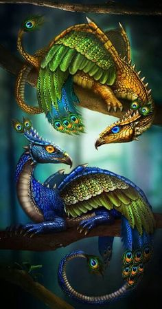 WOW!!! Love these!!! Peacock Dragons by LunarRose #dragon #tattoos #tattoo