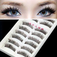 10 Paar Handgemachte Vollabzug Gefälschte Falsche Wimpern Natürliche lange look baumwolle stiel 217 kostenloser versand beauty makeup werkzeuge