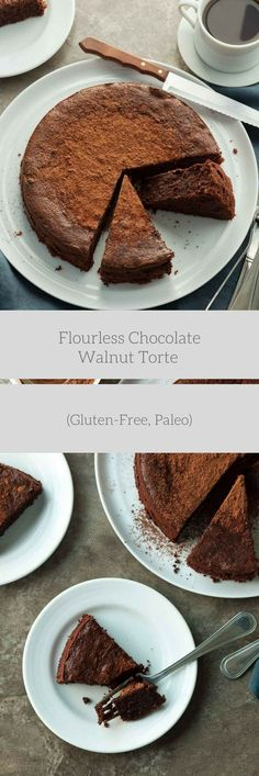 FLOURLESS CHOCOLATE WALNUT TORTE (GLUTEN-FREE, PALEO) An easy gluten-free and paleo flourless chocolate walnut cake made entirely in the food processor!