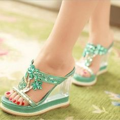 Delicate Rhinestone Flower Open-Toe Wedge Sandals $57.89