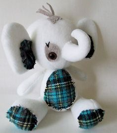 Blue plaid elephant plush. $35.00, via Etsy.