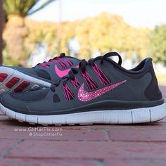 Women's Nike Free 5.0 w/ Swarovski Rhinestones - Grey & Pink / Glitterfix