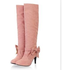 Plus Size Stylish Bowknot Embellished High Heel Boots Pink ❤ liked on Polyvore