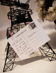 Use French postcards as a guest book or advice to the Bride at a Paris themed bridal shower