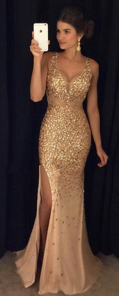 Luxury Gold Crystals Mermaid Side Slit Long Prom Dresses