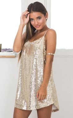 Showpo Funk Town dress in gold sequin - 6 (XS) Party Dresses