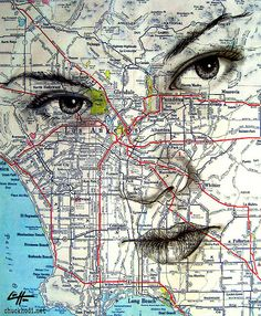 Items similar to Print - Dreams and Nightmares - Ink Graphite Los Angeles Map Surreal Fantasy Portrait Lowbrow Hollywood Pop Hipster Travel Freeway on Etsy Los Angeles Map, Advanced Higher Art, Map Painting, Fantasy Portraits, Dreams And Nightmares, Ap Art, High Art, Art Lessons, Surrealism