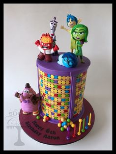 Inside Out Cakes Disney Desserts, Disney Cakes, Inside Out Cakes, Fondant Cakes, Cupcake Cakes, Kreative Desserts, Movie Cakes, Cake Wrecks, Character Cakes