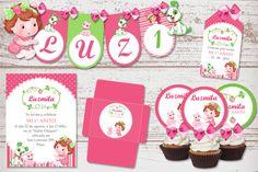 Kit Imprimible Frutillitas Bebé 1 Añito Nena Cumpleaños Rosa