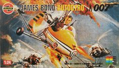 Airfix - James Bond Autogyro 007 - Cover art scanned from the movie poster by someone who hadn't heard of Descreening.