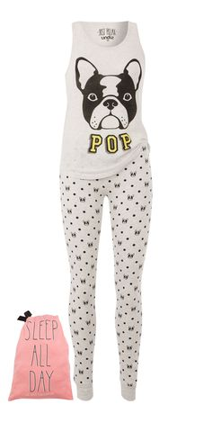 Le pyjama malin ! Haut + Bas + Pochon = 19,95€ Top gris à pois imprimé chien Legging gris à pois imprimé chiens