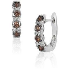 Levian White and Chocolate Diamond Hoops, 0.46 TCW