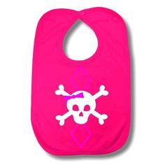 Argyle Skull Baby Bib Pink