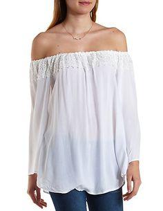 Lace-Trim Off-the-Shoulder Top: Charlotte Russe #offtheshoulder #lace