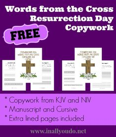 Resurrection Day ~ Words from the Cross Copywork {freebie} - Frugal Homeschool Family
