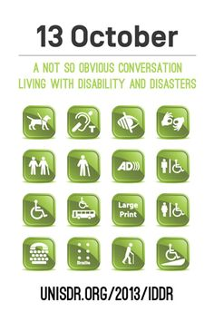 October 13, 2013 is International Day for Disaster Reduction. Go to www.healthaware.org for link to more information.