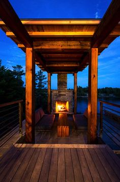 Monument Channel outdoor fire pit, by Cottage-Core Architects