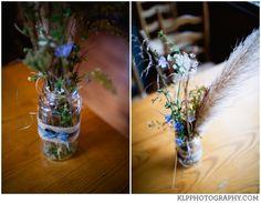 DIY centerpieces, mason jars, burlap, wild flowers