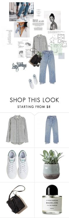 """""""Lazy Sundays."""" by sarahstardom ❤ liked on Polyvore featuring By Terry, H&M, adidas, Torre & Tagus, Chanel, Byredo, THE HIP TEE and vintage"""