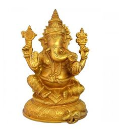 Lord Ganesha Brass Blessing Religious statue