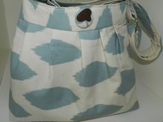 Camera Bag  Dslr, pleated  camera purse and Removable Padded  Insert Light Blue Ikat print by Darby Mack.