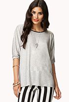 Faux Leather Trimmed Dolman Top