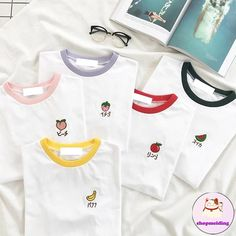 Sweet Fruit T-shirt sold by shopmeiding. Shop more products from shopmeiding on Storenvy, the home of independent small businesses all over the world. Korean Outfits, New Outfits, Trendy Outfits, Fashion Outfits, Kpop Shirts, Funny Tee Shirts, Aesthetic T Shirts, Aesthetic Clothes, Clothing Photography
