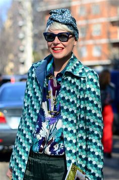 Retro print mix and a turban . Cute , cool and colourful ! Streetstyle GODDESS