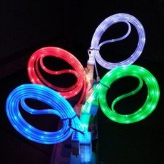 Glow Visible LED Light Up Micro USB 2.0 Charger Data Sync Charge Cable For Phones