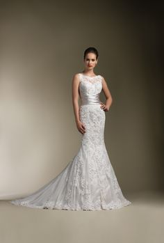 Justin Alexander #8596 in Ivory/Oyster Mermaid Dress. Love the sleeveless bateau neckline.