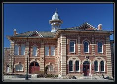 Orangeville Theatre, Orangeville, Ontario. This building is currently being used as the community theatre but is must have been the town hall at one point in time. It was constructed in 1875 and located at 87 Broadway Street.