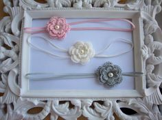 Pink White and Grey Crochet Flower Headband 3 Pack for Newborn Infant Toddler Girl Adult Photo Prop-
