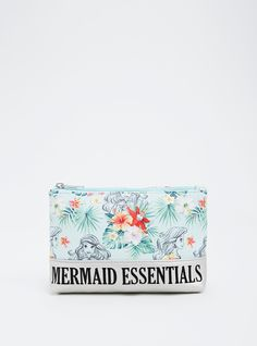 """What does a girl need to survive dry land? """"Mermaid Essentials"""" obviously. This zip top makeup bag is as refreshing as the sea with mint green faux leather printed with an Ariel and floral pattern. The metallic faux leather is an electrifying contrast.<div><ul><li style=""""list-style-position: inside !important; list-style-type: disc !important"""">Man-made materials</li><li style=""""list-style-position: inside !important; list-styl..."""