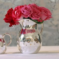 pLarge Silver-Plated Jug/p All Gifts, Home Gifts, Christmas Candle Holders, Gold Vases, Wedding Invitation Design, Pottery Vase, Vases Decor, Beautiful Roses, Pink Roses