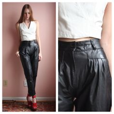 Leather Trousers / Vintage Leather Pants / High by closetcaseVNTG, $95.00