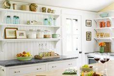 open shelves in kitche