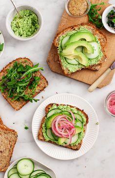 Lemon Edamame Avocado Sandwiches - Delicious vegan sandwiches filled with lemon-edamame spread, avocado, cucumber, & pickled onions.