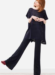 Sheer stripes poncho - Outerwear - Ready to wear - Uterqüe Spain