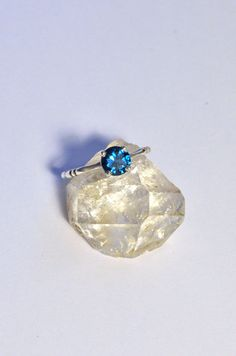 London Blue Topaz Solitaire Memento Mori by PhetteplaceDesigns