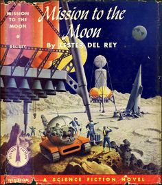 mission to the moon - vintage illustration