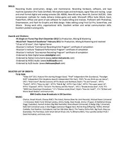 in post this time we will give a example about sample of assistant audio engineer resume example that will give you ideas and provide a reference for your