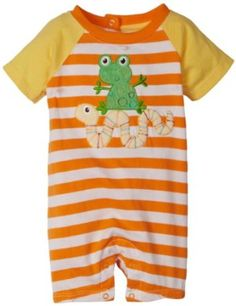 Absorba Baby-Boys Newborn Frog And Snake Stripes Creeper, Orange, 6-9 Months ABSORBA. $8.00