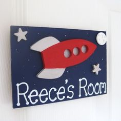 Personalised rocket bedroom door plaque