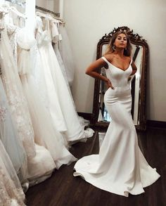 Simple Mermaid Wedding Dresses Long 2019 Off the Shoulder