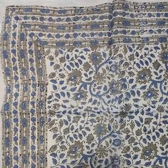 Handmade Floral Block Print Cotton Scarf Blue Beautiful Casual Formal Wear 21x21 & 42x42