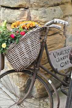 Flowers in a rustic old bike.