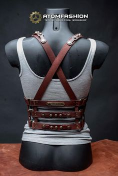 Woman leather harness of mahogany leather in steampunk style. Excellent sexual addition to woman clothes. Perfectly matches dress, blouse, shirt or Leather Halter, Leather Corset, Leather Harness, Lingerie Cuir, Leather Lingerie, Moda Steampunk, Steampunk Fashion, Leather Accessories, Women Accessories